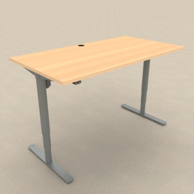 Electric Adjustable Desk | 150x80 cm | Beech with silver frame