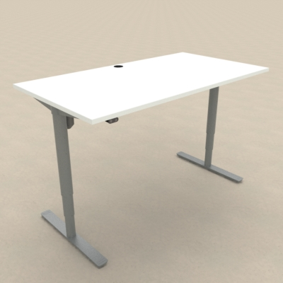 Electric Adjustable Desk | 150x80 cm | White with silver frame
